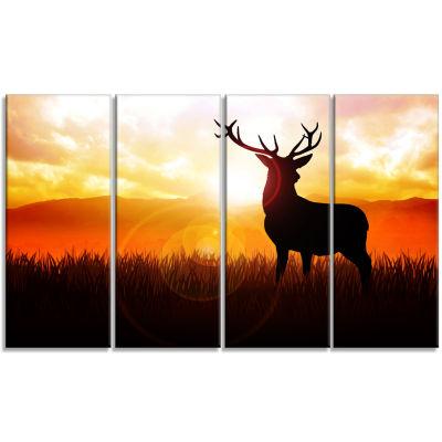 Designart Deer On Meadow During Sunrise Animal Canvas Art Print - 4 Panels