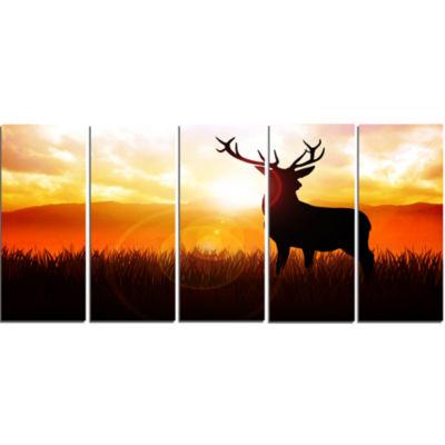 Designart Deer On Meadow During Sunrise Animal Canvas Art Print - 5 Panels