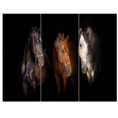 Designart Three Horses With Golden Bridle AnimalCanvas Art Print - 3 Panels