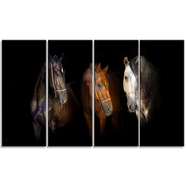 Design Art Three Horses With Golden Bridle AnimalCanvas Art Print - 4 Panels