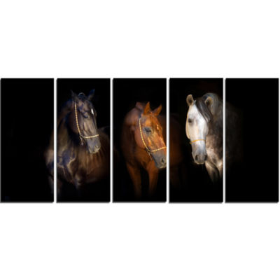 Designart Three Horses With Golden Bridle Animal Canvas Art Print - 5 Panels