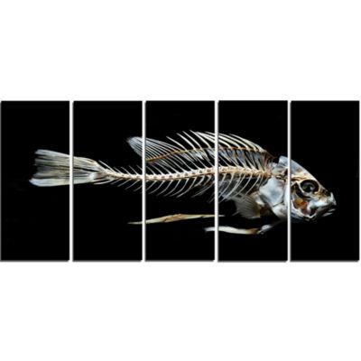 Design Art Fish Skeleton Bone On Black Animal Canvas Art Print - 5 Panels