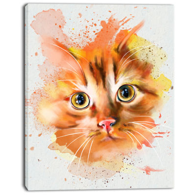 Designart Lovely Red Watercolor Cat Animal CanvasArt Print