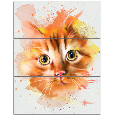 Designart Lovely Red Watercolor Cat Animal Canvas Art Print - 3 Panels