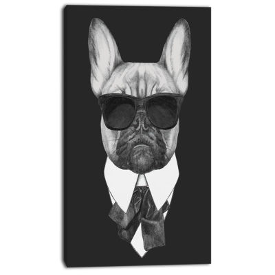 Designart French Bulldog Fashion Portrait Animal Canvas Art Print