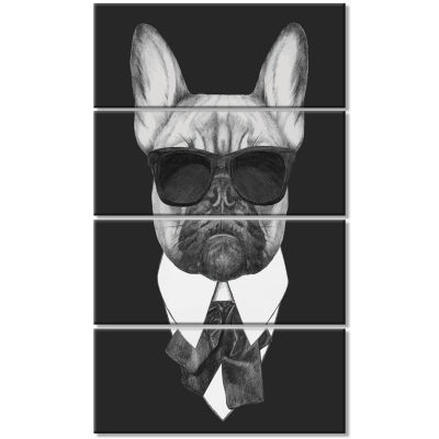 Designart French Bulldog Fashion Portrait AnimalCanvas Art Print - 4 Panels