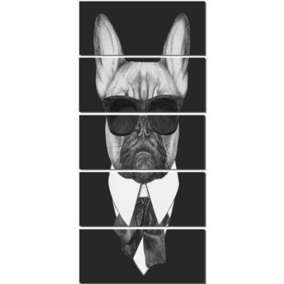 Designart French Bulldog Fashion Portrait Animal Canvas Art Print - 5 Panels