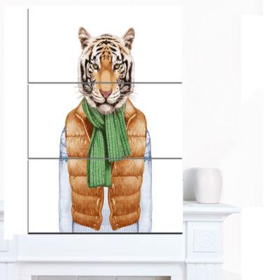 Designart Tiger In Vest And Sweater ContemporaryAnimal Art Canvas - 3 Panels