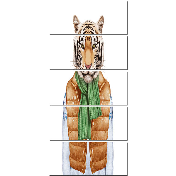 Design Art Tiger In Vest And Sweater ContemporaryAnimal Art Canvas - 5 Panels