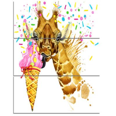 Designart Giraffe Eating Ice Cream Watercolor Contemporary Animal Art Canvas - 3 Panels
