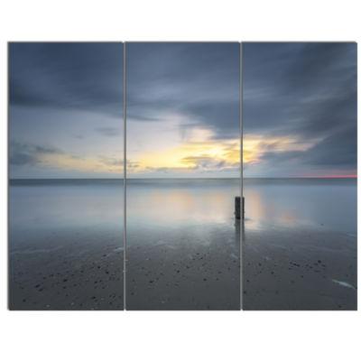 Designart Stormy And Dark Sea Sunset Canvas Art Print - 3 Panels