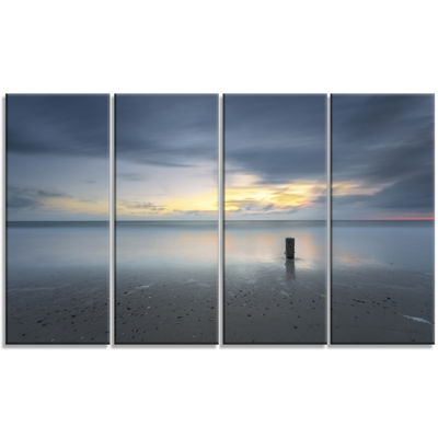 Designart Stormy And Dark Sea Sunset Canvas Art Print - 4 Panels