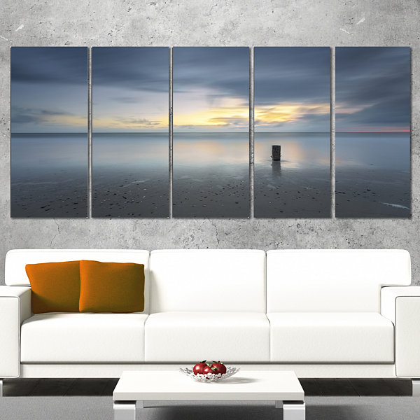 Designart Stormy And Dark Sea Sunset Canvas Art Print - 5 Panels