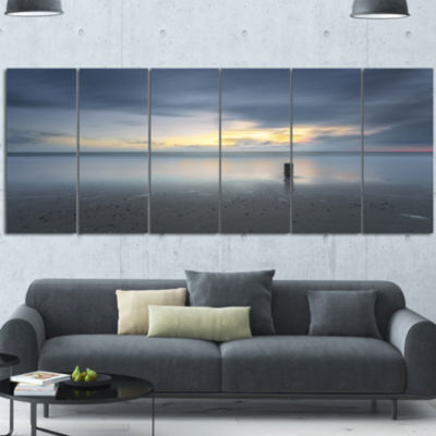 Designart Stormy And Dark Sea Sunset Canvas Art Print - 6 Panels