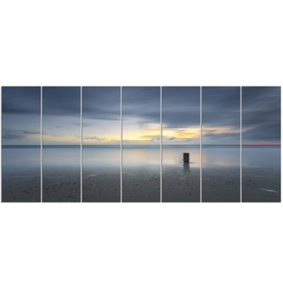 Designart Stormy And Dark Sea Sunset Canvas Art Print - 7 Panels