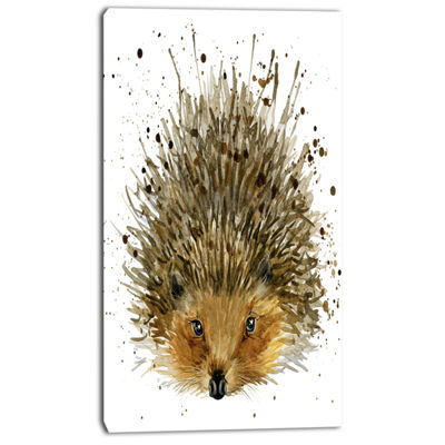 Designart Hedgehog Illustration Watercolor Contemporary Animal Art Canvas