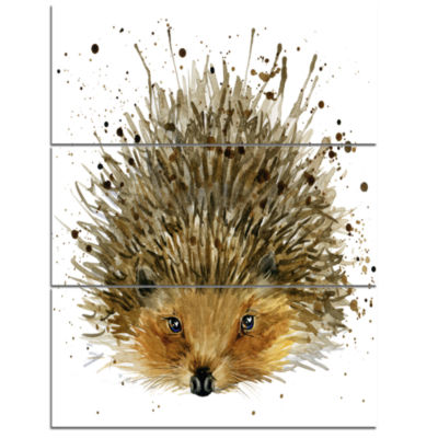Designart Hedgehog Illustration Watercolor Contemporary Animal Art Canvas - 3 Panels