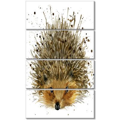 Designart Hedgehog Illustration Watercolor Contemporary Animal Art Canvas - 4 Panels