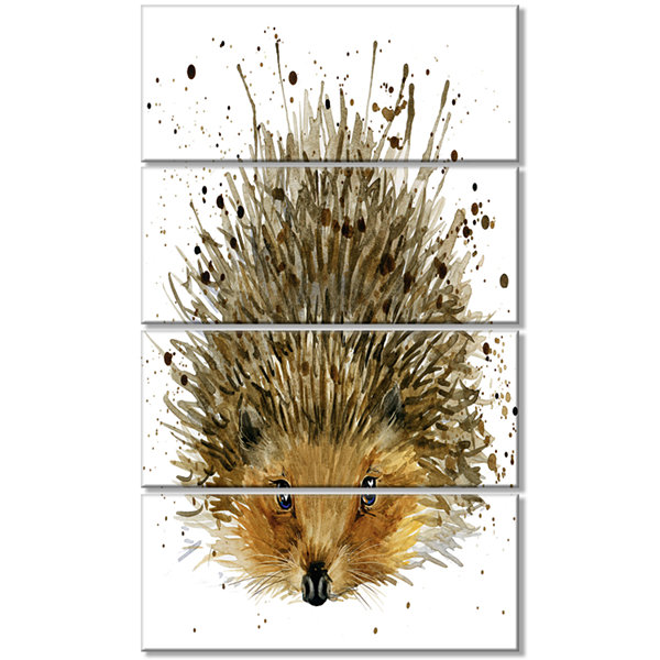 Design Art Hedgehog Illustration Watercolor Contemporary Animal Art Canvas - 4 Panels