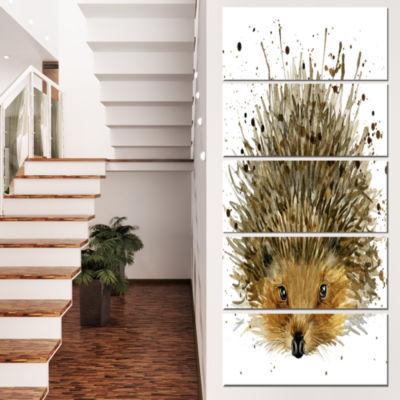 Designart Hedgehog Illustration Watercolor Contemporary Animal Art Canvas - 5 Panels