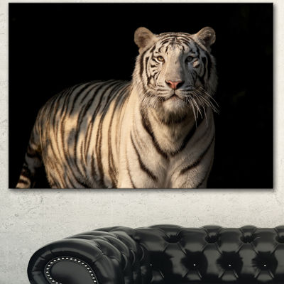 Design Art White Bengal Tiger On Black Abstract Canvas Art Print