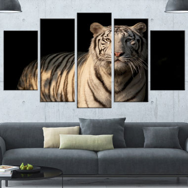 Designart White Bengal Tiger On Black Abstract Canvas Art Print - 5 Panels