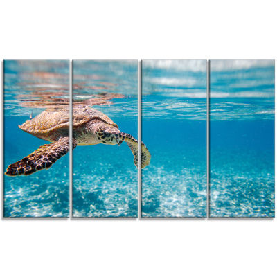 Designart Hawksbill Sea Turtle Abstract Canvas ArtPrint - 4 Panels