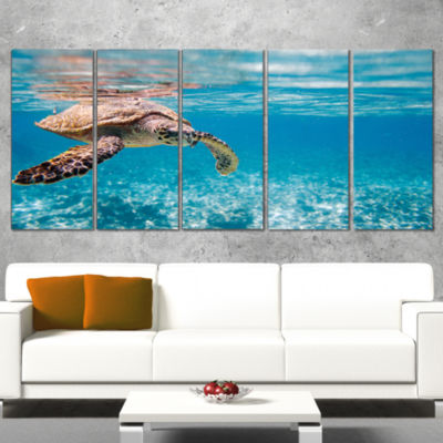 Design Art Hawksbill Sea Turtle Abstract Canvas Art Print - 5 Panels