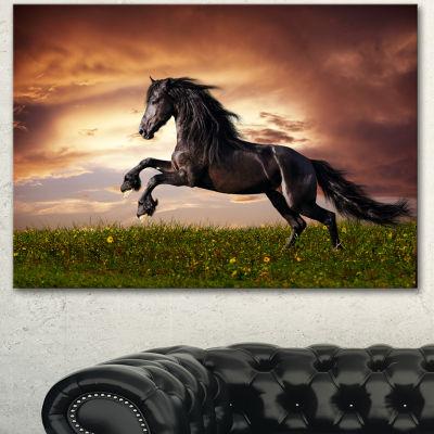 Designart Black Friesian Horse Gallop Abstract Canvas Art Print