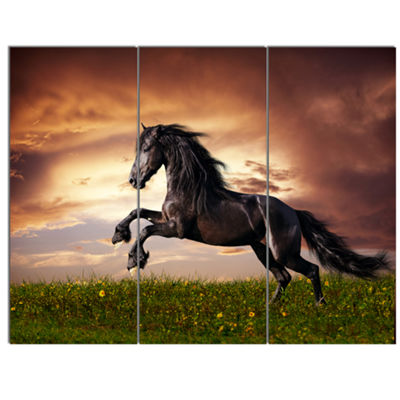 Designart Black Friesian Horse Gallop Abstract Canvas Art Print - 3 Panels