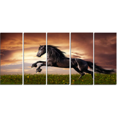 Designart Black Friesian Horse Gallop Abstract Canvas Art Print - 5 Panels