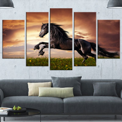 Designart Black Friesian Horse Gallop Abstract Canvas Art Print - 5 Panels