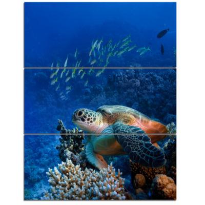 Designart Sea Turtle Underwater Abstract Canvas Art Print - 3 Panels