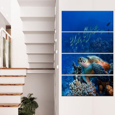 Designart Sea Turtle Underwater Abstract Canvas Art Print - 4 Panels