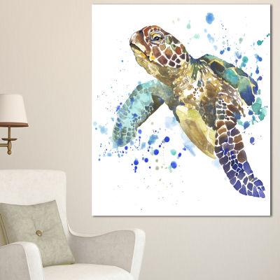 Designart Blue Sea Turtle Illustration Animal Canvas Art Print