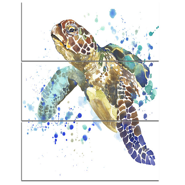 Design Art Blue Sea Turtle Illustration Animal Canvas Art Print - 3 Panels