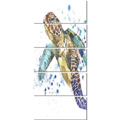 Designart Blue Sea Turtle Illustration Animal Canvas Art Print - 5 Panels