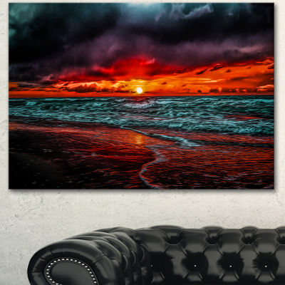 Designart Red Sunset Over Blue Waters Seascape Canvas Art Print