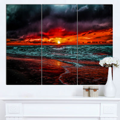 Designart Red Sunset Over Blue Waters Seascape Canvas Art Print - 3 Panels
