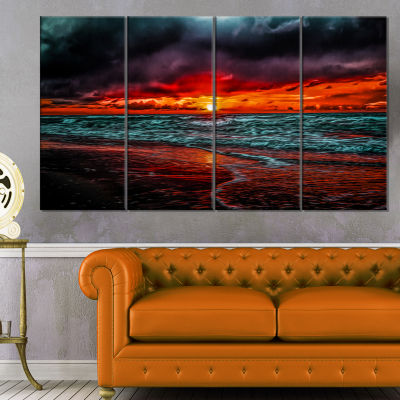 Designart Red Sunset Over Blue Waters Seascape Canvas Art Print - 4 Panels