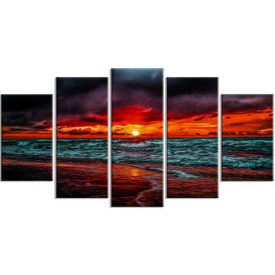 Designart Red Sunset Over Blue Waters Seascape Canvas Art Print - 5 Panels
