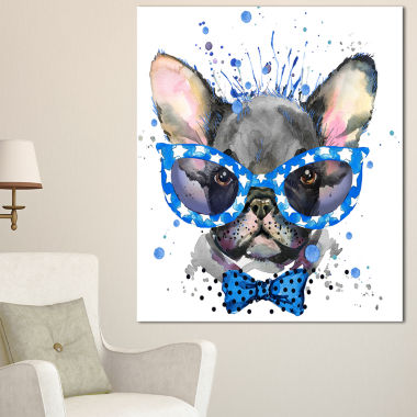 Design Art Cute French Bulldog With Glasses Animal Canvas Wall Art
