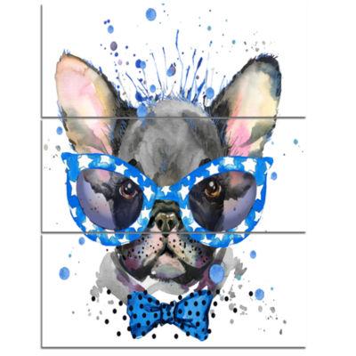 Designart Cute French Bulldog With Glasses AnimalCanvas Wall Art - 3 Panels