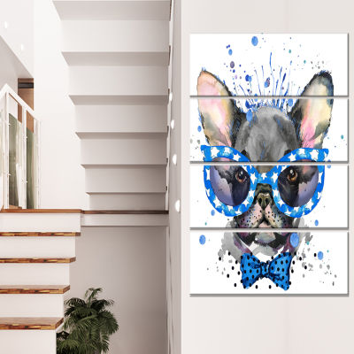 Design Art Cute French Bulldog With Glasses Animal Canvas Wall Art - 4 Panels