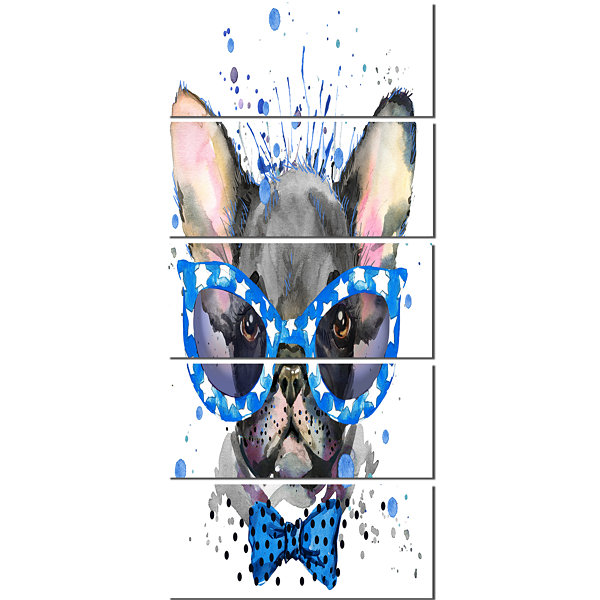 Designart Cute French Bulldog With Glasses AnimalCanvas Wall Art - 5 Panels
