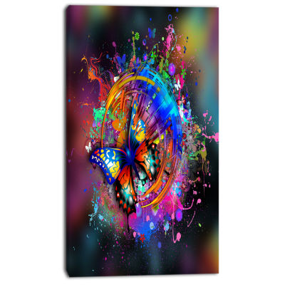 Designart Butterfly Over Abstract Background WallArt Canvas