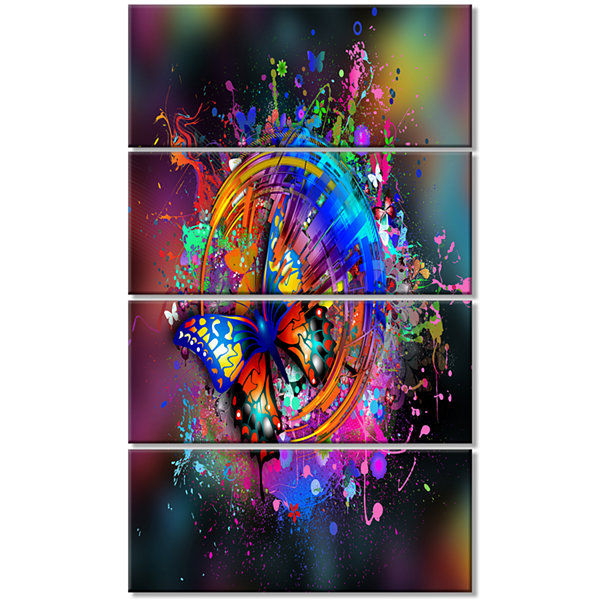 Design Art Butterfly Over Abstract Background WallArt Canvas - 4 Panels