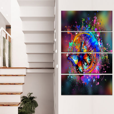 Designart Butterfly Over Abstract Background WallArt Canvas - 4 Panels