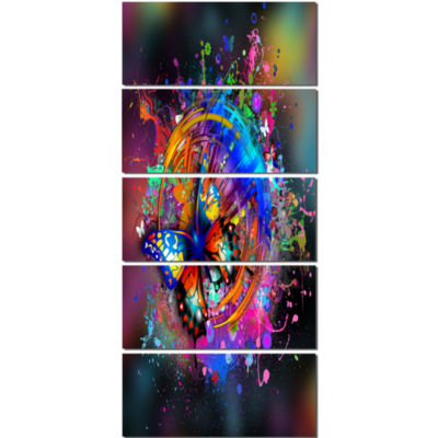 Designart Butterfly Over Abstract Background WallArt Canvas - 5 Panels