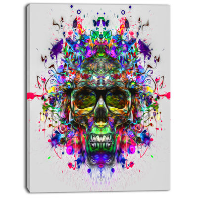 Designart Skull With Glasses And Paint Splashes Abstract Wall Art Canvas